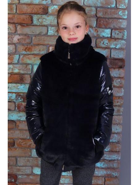 Детская демисезонная куртка с мехом для девочки