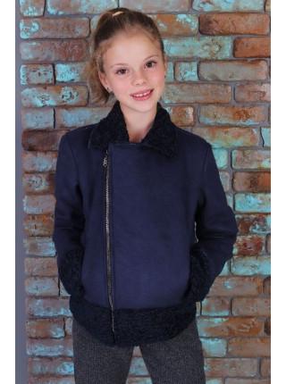 Короткая куртка дубленка для девочки