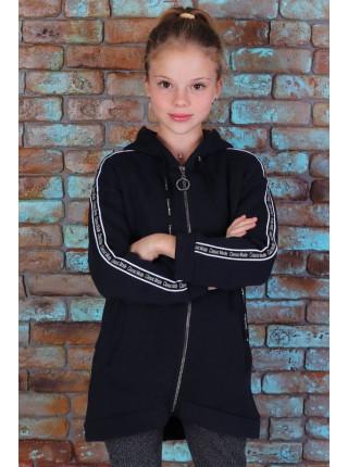 Модный теплый кардиган с капюшоном для девочки