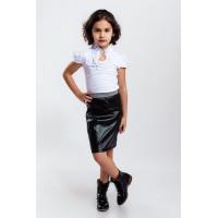 Стильная кожаная юбка для девочки