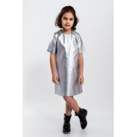 Детское короткое кожаное платье с коротким рукавом