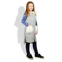 Детская удлиненная жилетка с меховыми карманами