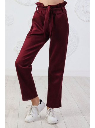 Модные замшевые брюки для девочки с поясом