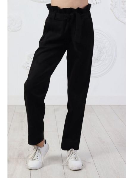 Модні замшеві штани для дівчинки із поясом