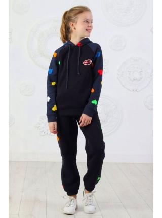 Теплый спортивный костюм с капюшоном для девочки