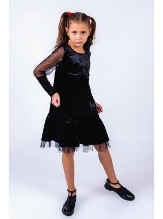Красивое велюровое детское платье с длинным рукавом