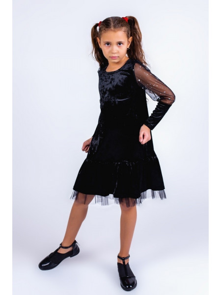 Красиве велюровое дитяче плаття із довгим рукавом