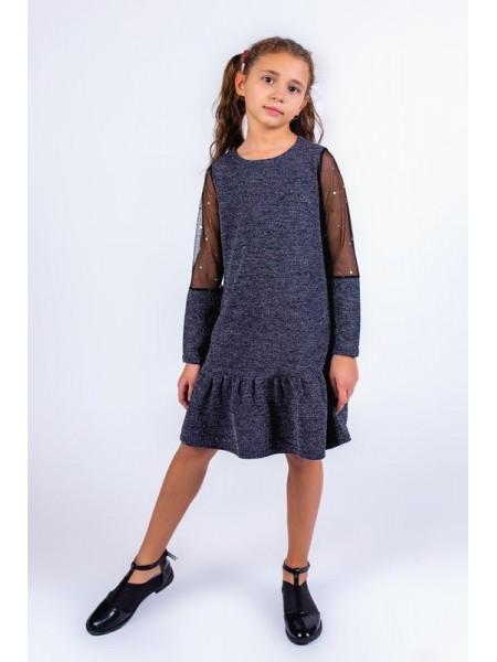 Детское трикотажное платье с воланом