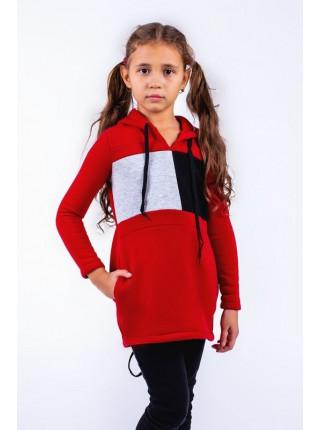 Дитяча тепла туніка із капюшоном для дівчинки