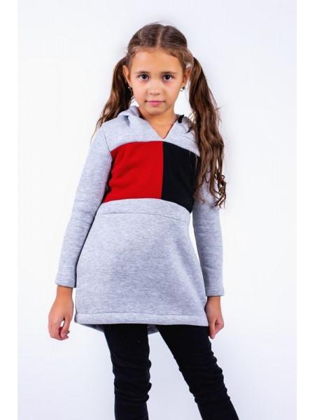 Детская теплая туника с капюшоном для девочки