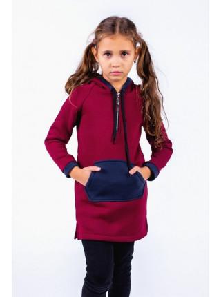 Детская удлиненная толстовка с карманами для девочки