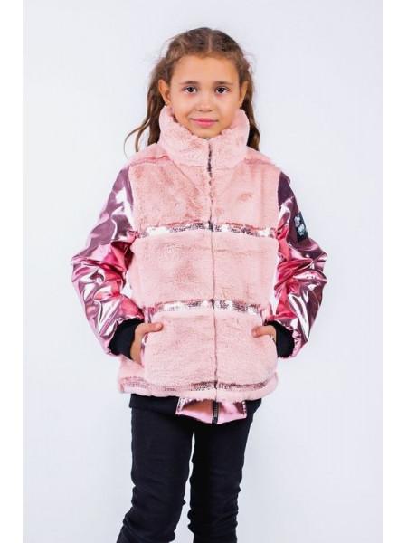 Модная детская куртка с мехом для девочки