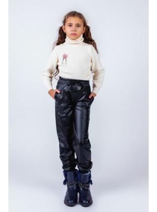 Дитячі шкіряні штани для дівчинки