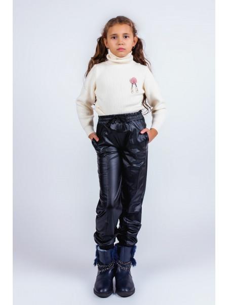 Детские кожаные брюки для девочки