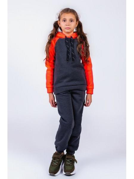 Детский спортивный теплый костюм на флисе для девочки