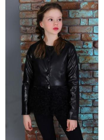 Детская стильная кожаная куртка с каракулем