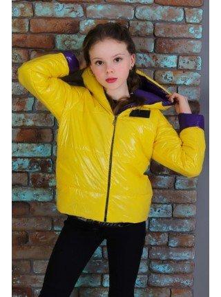 Стильна весняна куртка для дівчинки із капюшоном