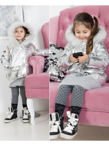 Дитяча модна демісезонна куртка металік