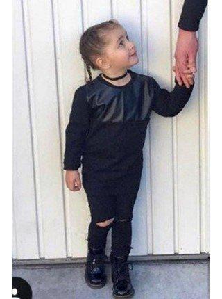 Стильная детская кофта с кожей