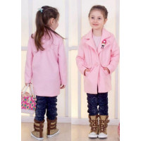 Детское стильное розовое пальто для девочки