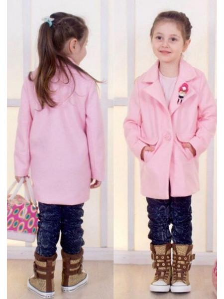 Дитяче стильне рожеве пальто для дівчаток