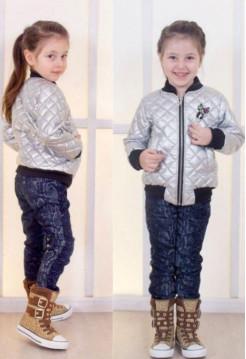 Модный детский бомбер металлик