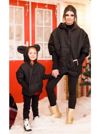 Детская черная куртка с ушками