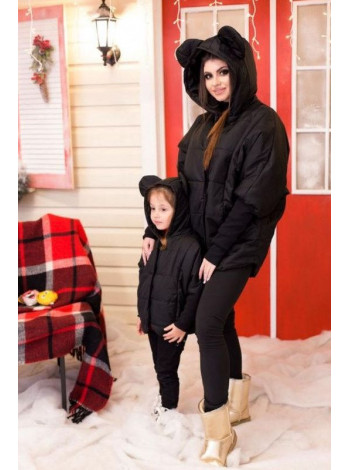 Дитяча чорна куртка із вушками