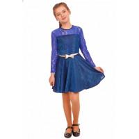 Нарядное детское платье синего цвета