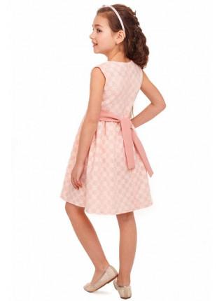 Розовое нарядное платье с брошью для девочки