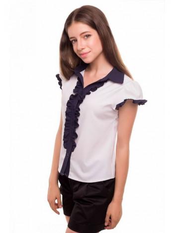 Біла шкільна блузка з коротким рукавом