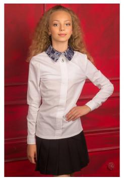 Белая блузка для школы с длинным рукавом