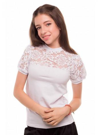 Біла дитяча блузка з коротким рукавом