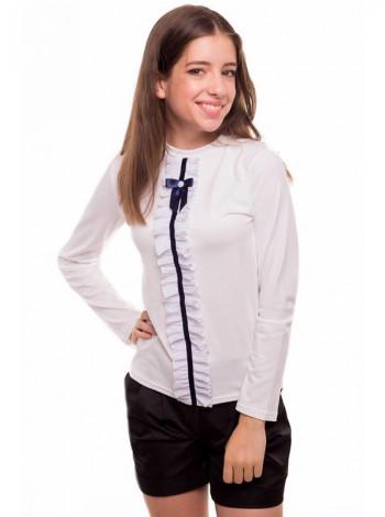 Шкільна біла блузка з жабо