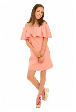 Детское платье с воланом и открытыми плечами