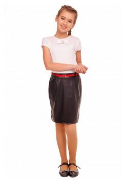 Детская кожаная юбка черного цвета