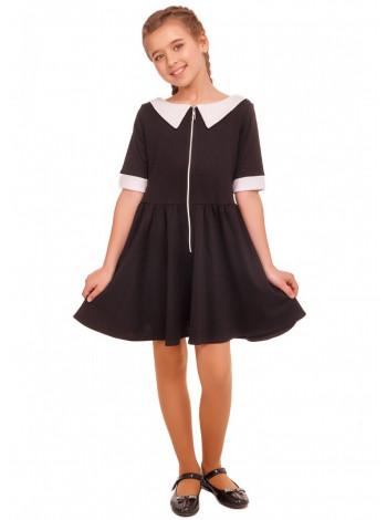 Трикотажное школьное платье с белым воротником