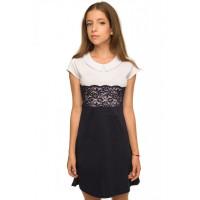 Дитяче шкільне плаття з мереживом і коротким рукавом