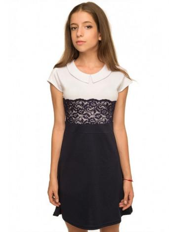 Детское школьное платье с кружевом и коротким рукавом