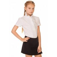 Дитяча шкільна блузка з коротким рукавом і коміром стійкою