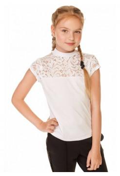 Белая школьная блузка с коротким рукавом для девочки