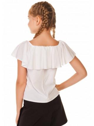 Детская блузка с открытыми плечами и воланом