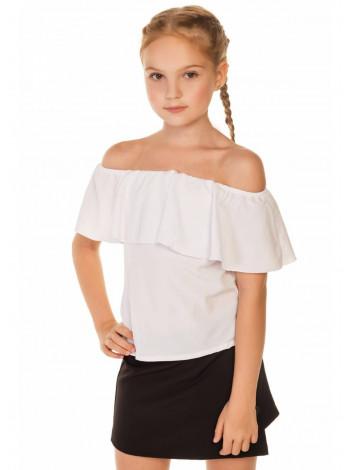 Дитяча блузка з відкритими плечима і воланом