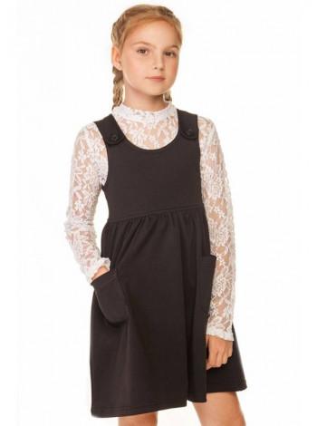 Черный школьный сарафан для девочки