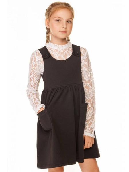 Чорний шкільний сарафан для дівчинки