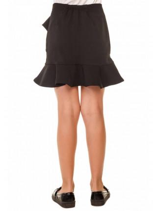Черная школьная юбка с воланами