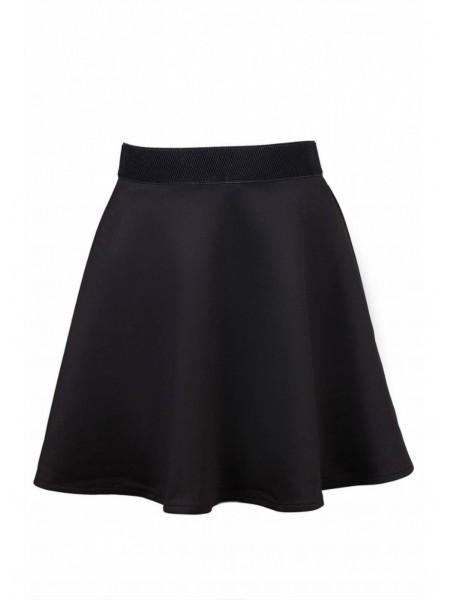 Черная школьная юбка на резинке