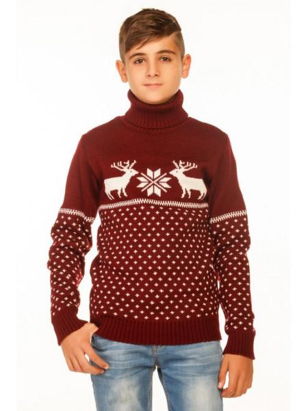Вязаный свитер под горло для мальчиков