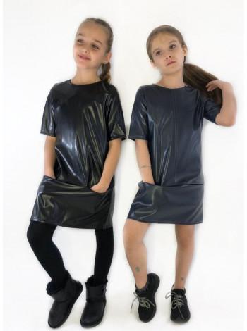 Детское кожаное платье для девочки