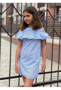 Летнее детское платье с открытыми плечами в полоску